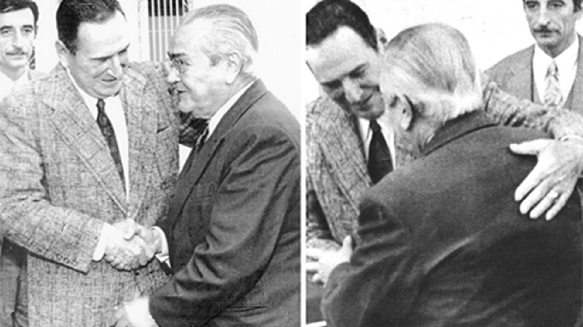 Perón, Balbín y el histórico abrazo: domingo 19 de noviembre de 1972, en la casa de Gaspar Campos