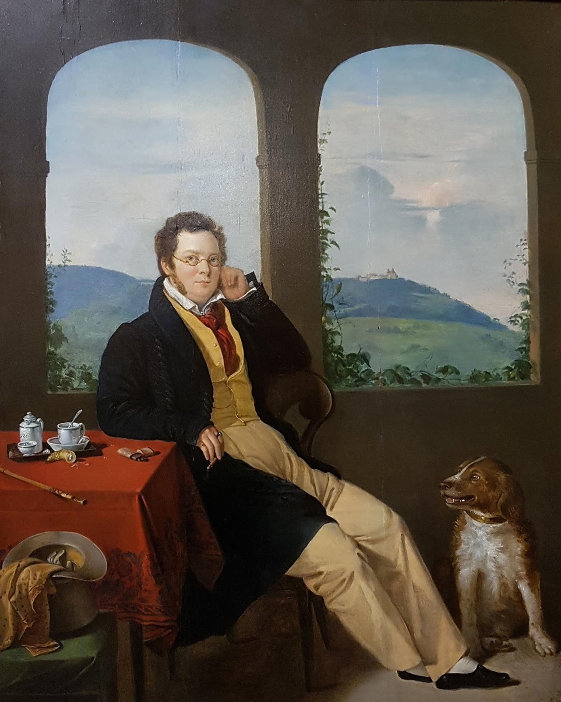 Retrato de Franz Schubert por Gábor Melegh (1827)
