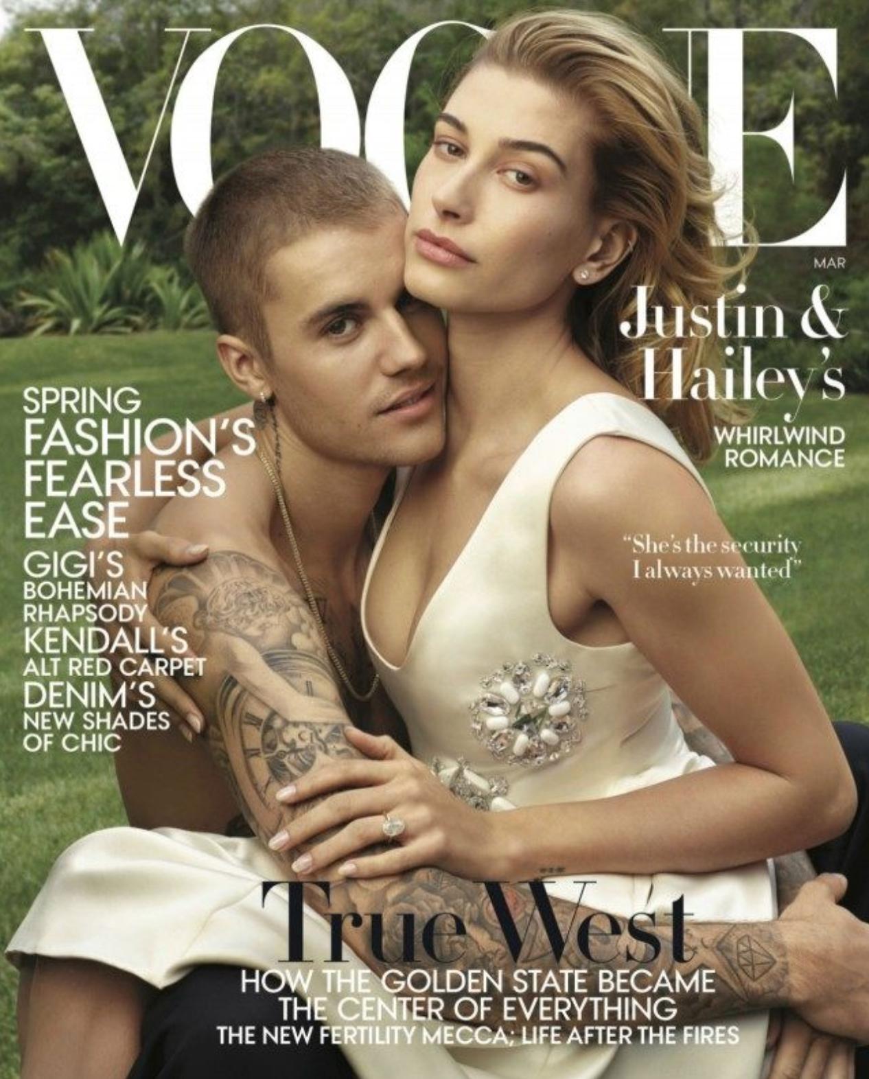 Justin Bieber y Hailey Baldwin en la edición de marzo de Vogue (Vogue/ Annie Leibovitz)