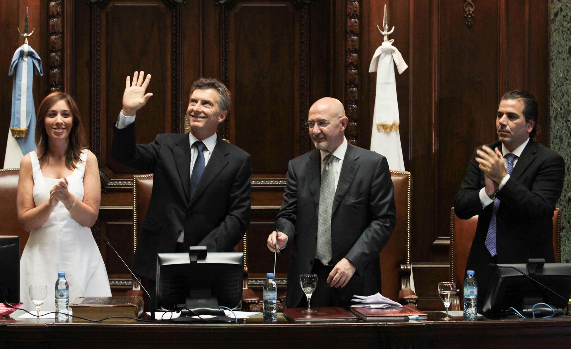 2011. Durante el acto de reasunción como jefe de gobierno en la legislatura porteña.