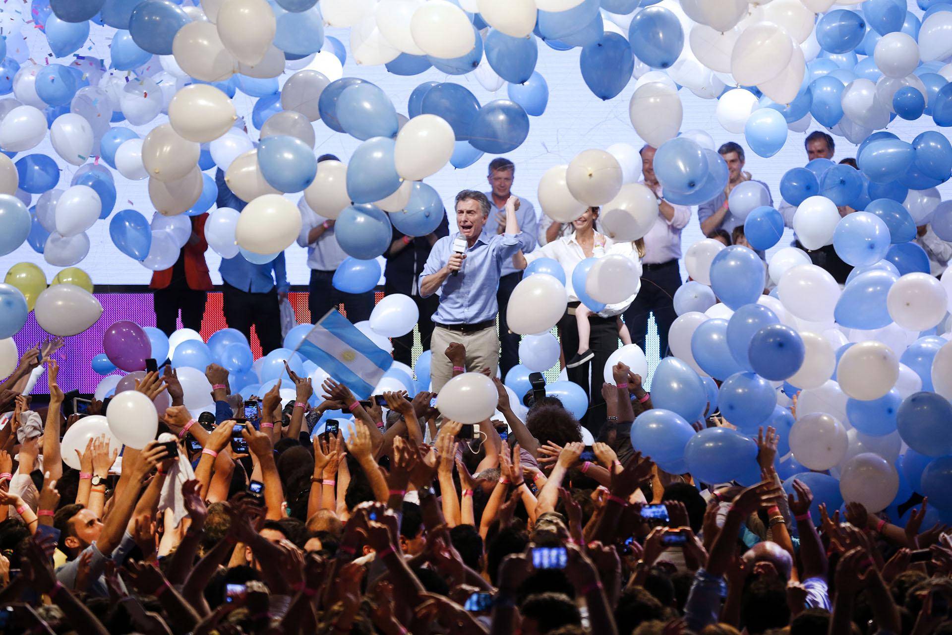 2015. En el búnker de Cambiemos luego de ganar las elecciones presidenciales