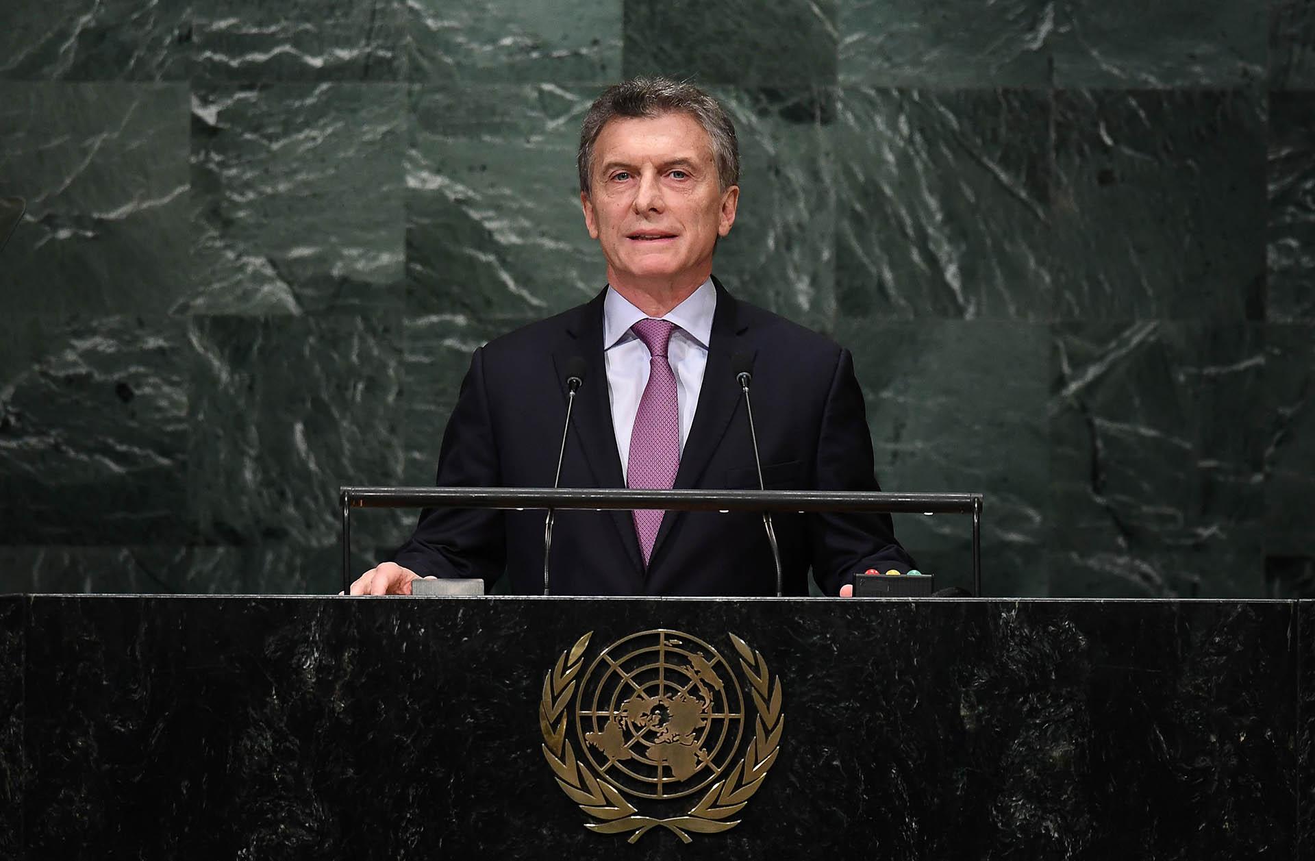 2016. El presidente brinda su alocución durante la71° Asamblea General de Naciones Unidas.