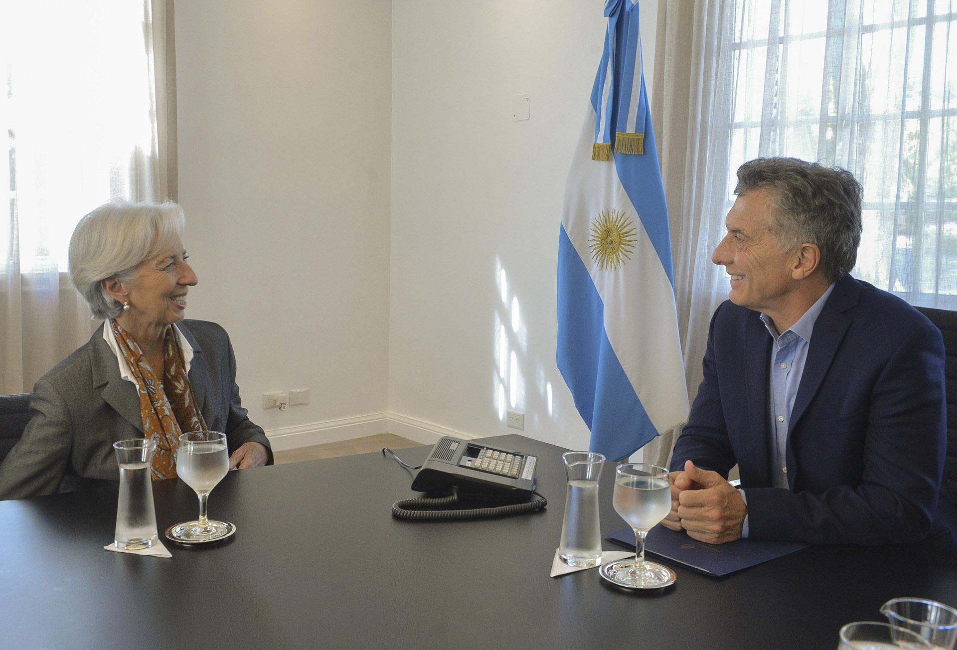 2018. En la residencia de Olivos con la directora del Fondo Monetario Internacional, Christine Lagarde.