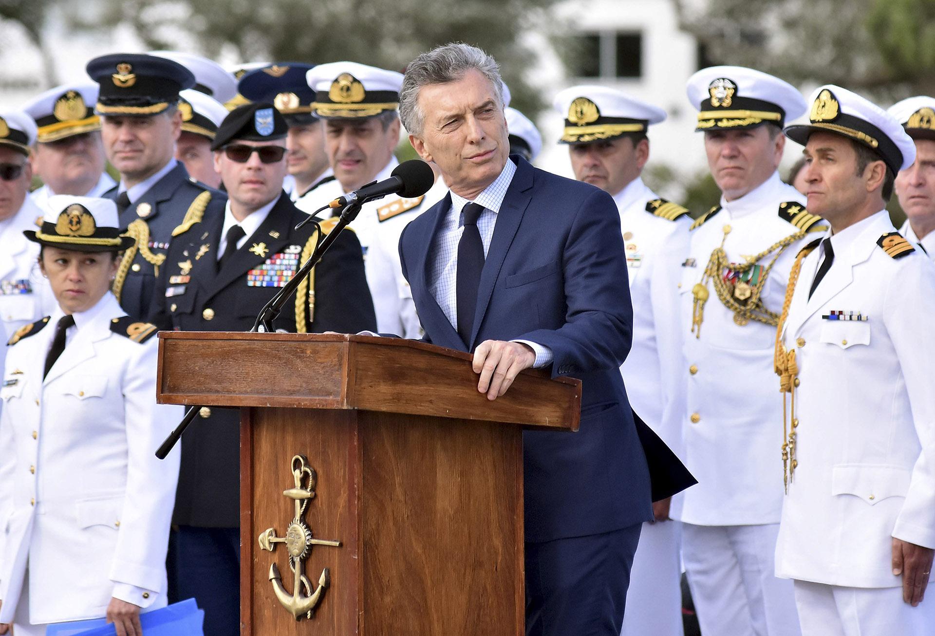 2018. En la ceremonia realizada en la base naval de esta ciudad al cumplirse un año de la desaparición del ARA San Juan.