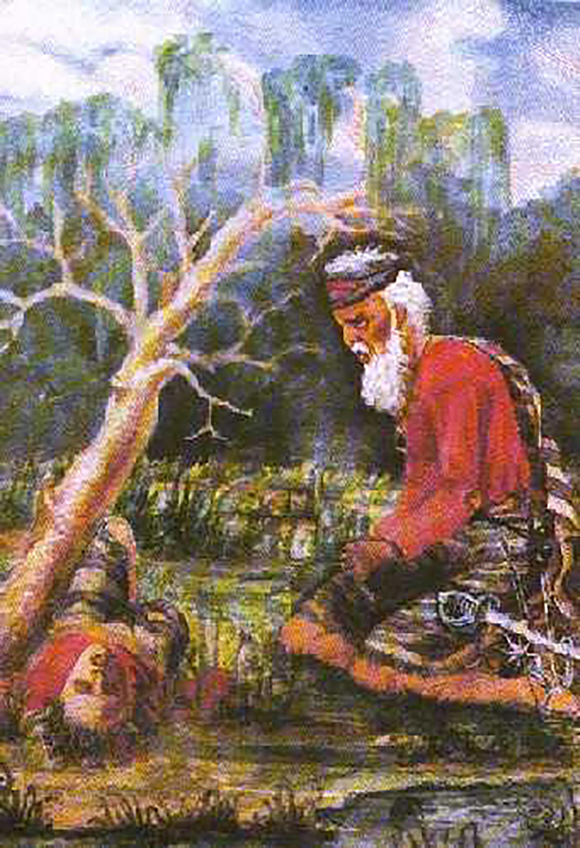 Una de las obras de Garmendia muestra un soldado paraguayo ante el cadáver de su hijo durante la Guerra de la Triple Alianza
