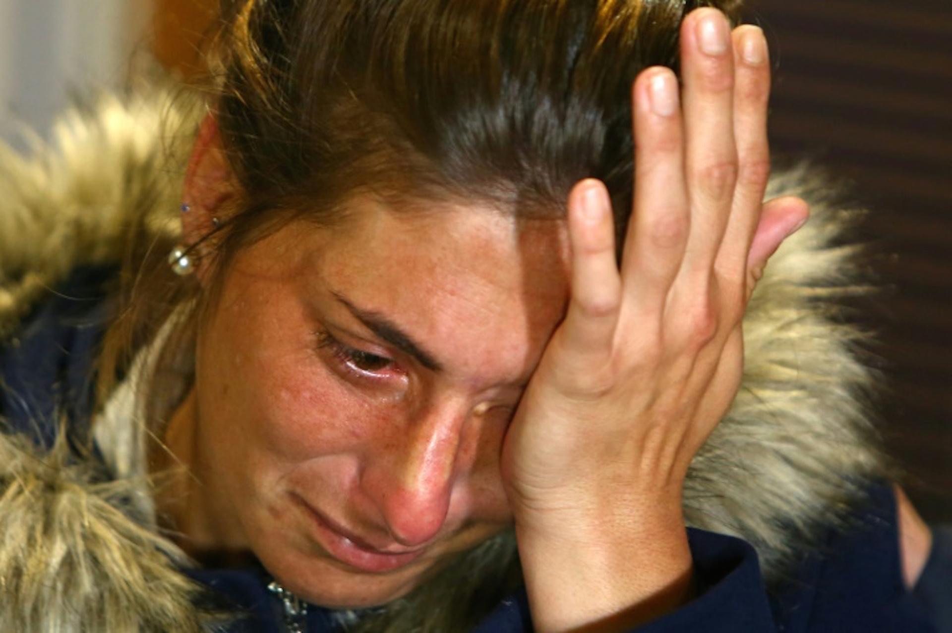 Romina Sala, hermana del futbolista argentino de Cardiff City, Emiliano Sala, reacciona mientras brinda una conferencia de prensa en el Cardiff City Stadium en Cardiff, Gales del Sur el 25 de enero de 2019 (AFP/Archivos – GEOFF CADDICK)
