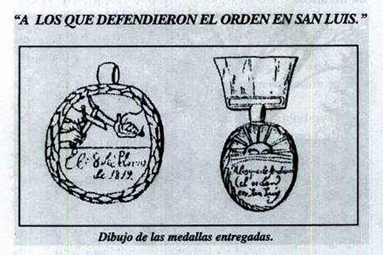 Medallas otorgadas a los que se destacaron en la resistencia contra la sublevación realista en San Luis