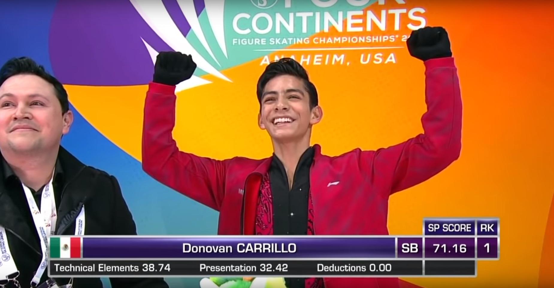 """Donovan Carrillo calificó al Campeonato Mundial de Patinaje Artístico de Saitama 2019 con una extraordinaria actuación en la que ejecutó un """"triple axel"""" Foto: (Especial)"""