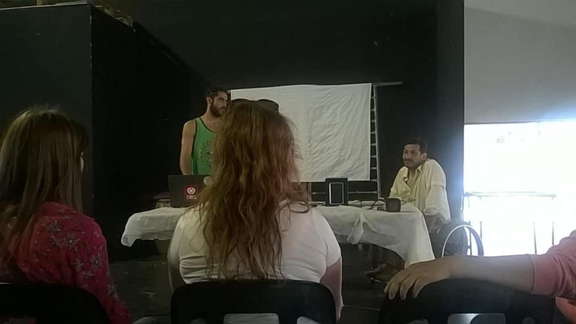 Malajovich y Burgos en uno de los tantos talleres que dictaban en Paraná