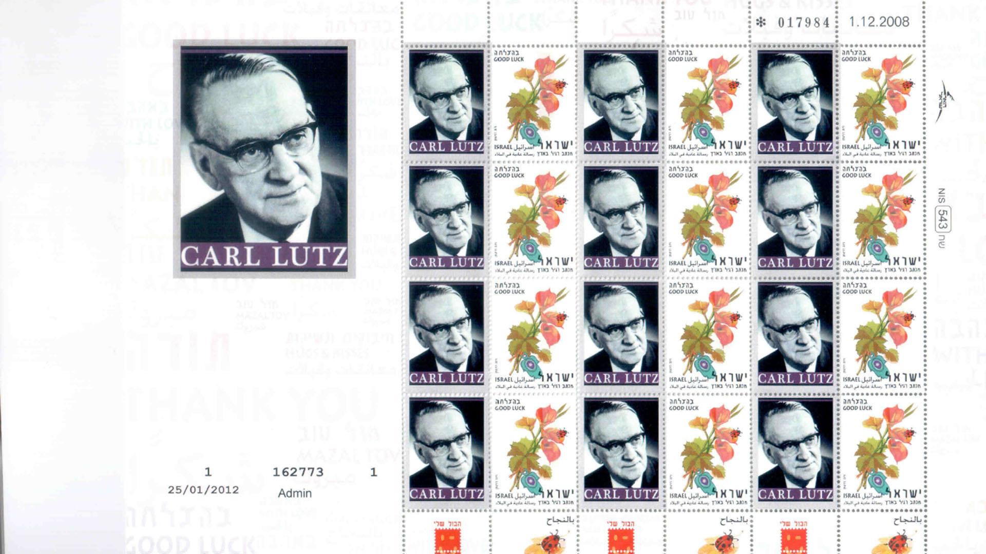 Lutz fue homenajeado en 2012 con su propia estampilla conmemorativa emitiada por el gobierno de Israel (Fundación Raoul Wallenberg)