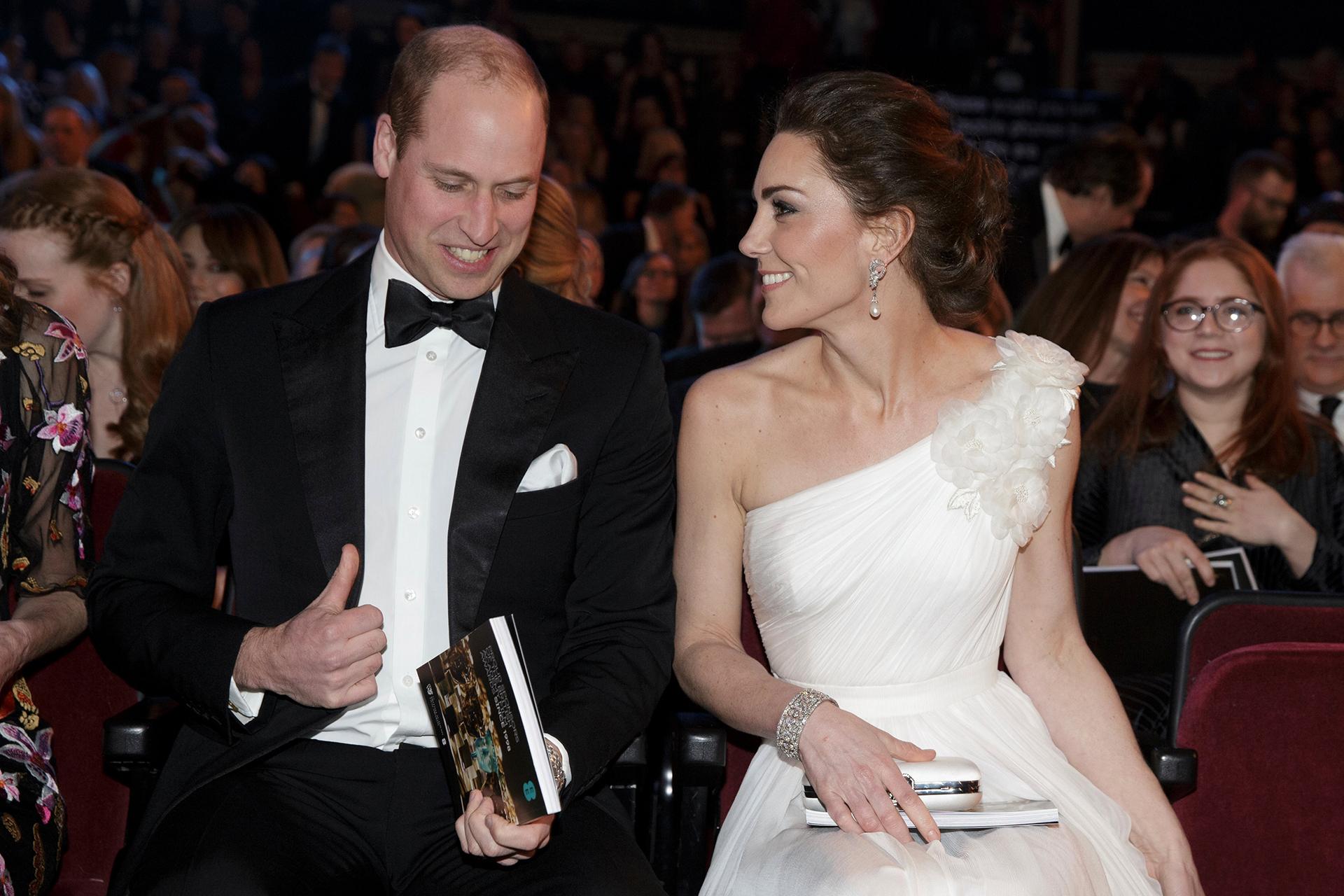 Los duques deCambridgeen lospremios BAFTA 2019 en elRoyal Albert Hall, Londres