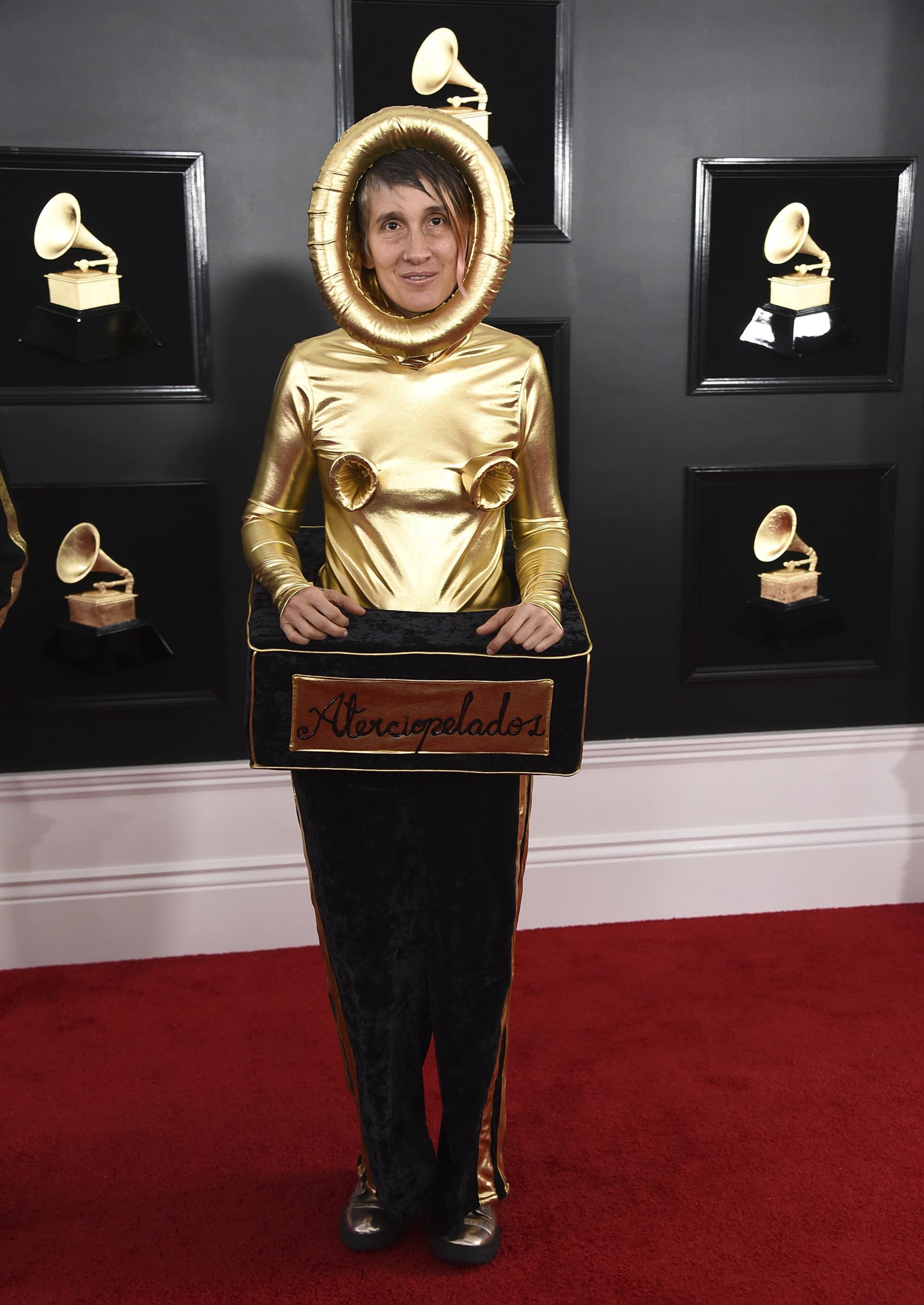 Andrea Echeverri de Aterciopelados de una de las más originales y extravagantes. La cantante colombiana recreó para su vestido la figura de los premios. En dorado y negro, una remera polera y pantalón de chiffón
