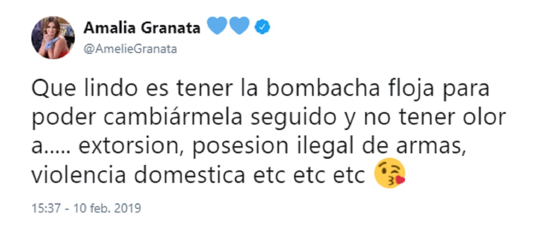 Amalia Granata le respondió al abogado de Andrea del Boca a través de su cuenta de Twitter