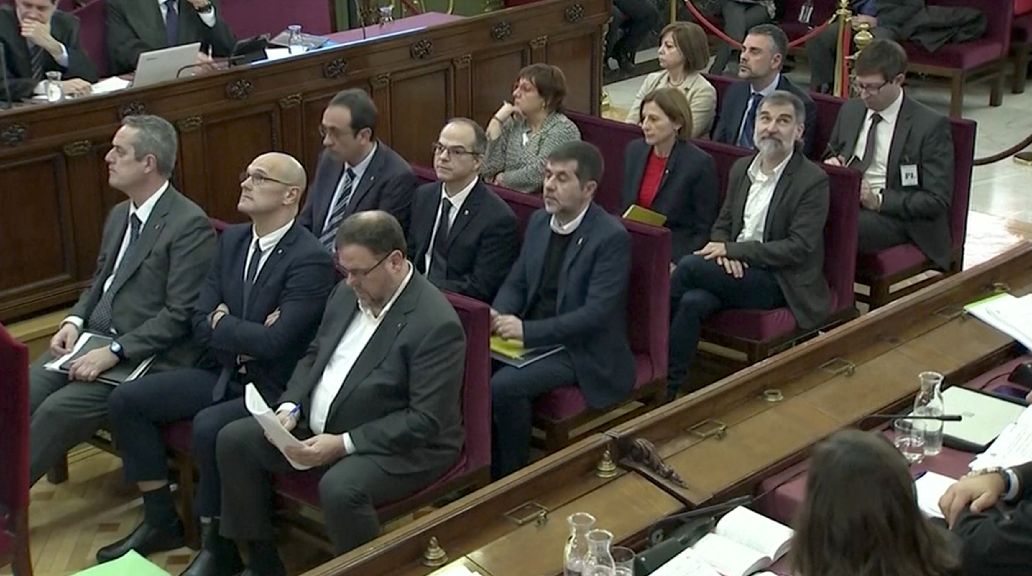 Los líderes separatistas catalanes procesados en Madrid