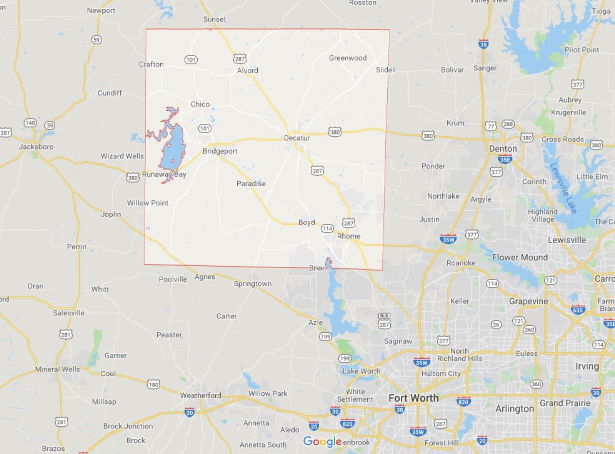El condado de Wise se encuentra al norte de Forth Worth (Foto: Google Maps)