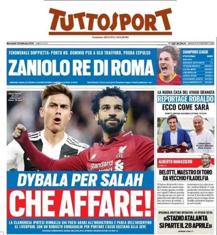 La portada de Tuttosport habla del intercambio Paulo Dybala-Mohamed Salah