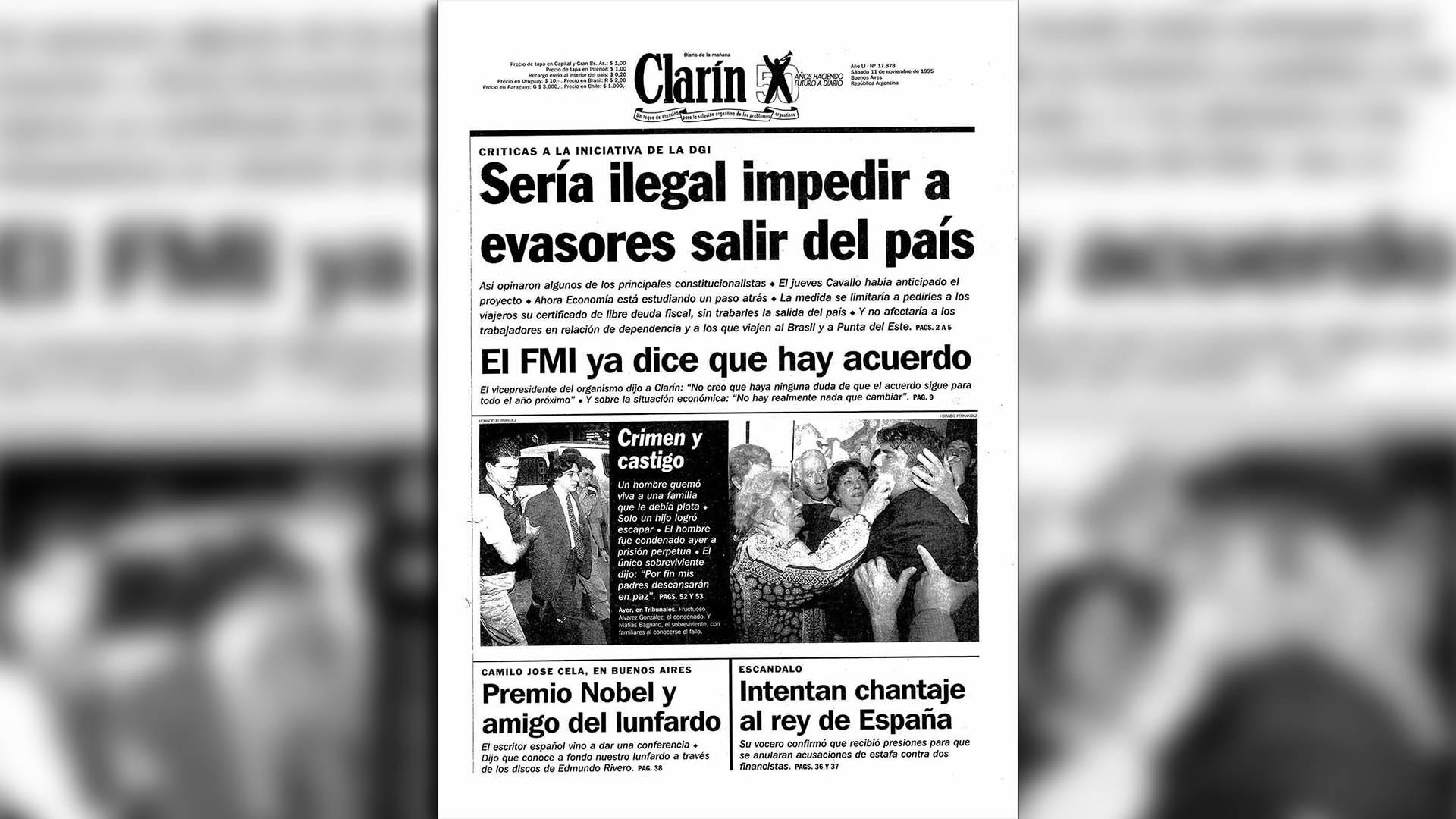 Matías, con 17 años, en la tapa del diario Clarín el día del fallo