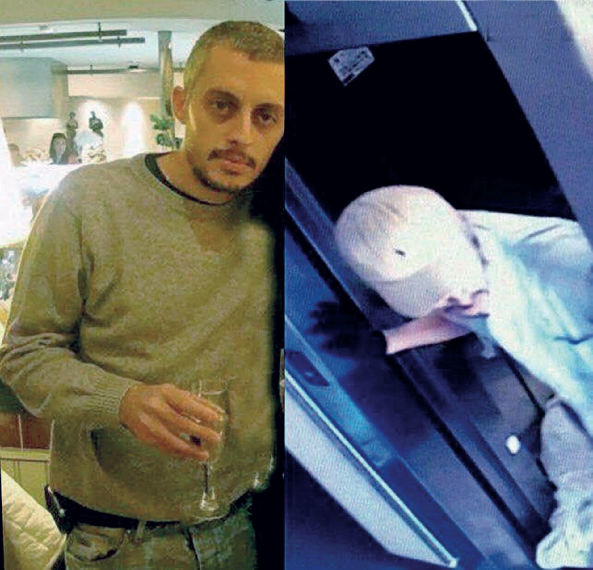 El trabajo de los investigadores de comparación y reconocimiento de Santiago Corona en las cámaras de seguridad del edificio donde se lo ve saliendo del ascensor, con un guante negro en su mano derecha, para transportar el cuerpo de su suegro.