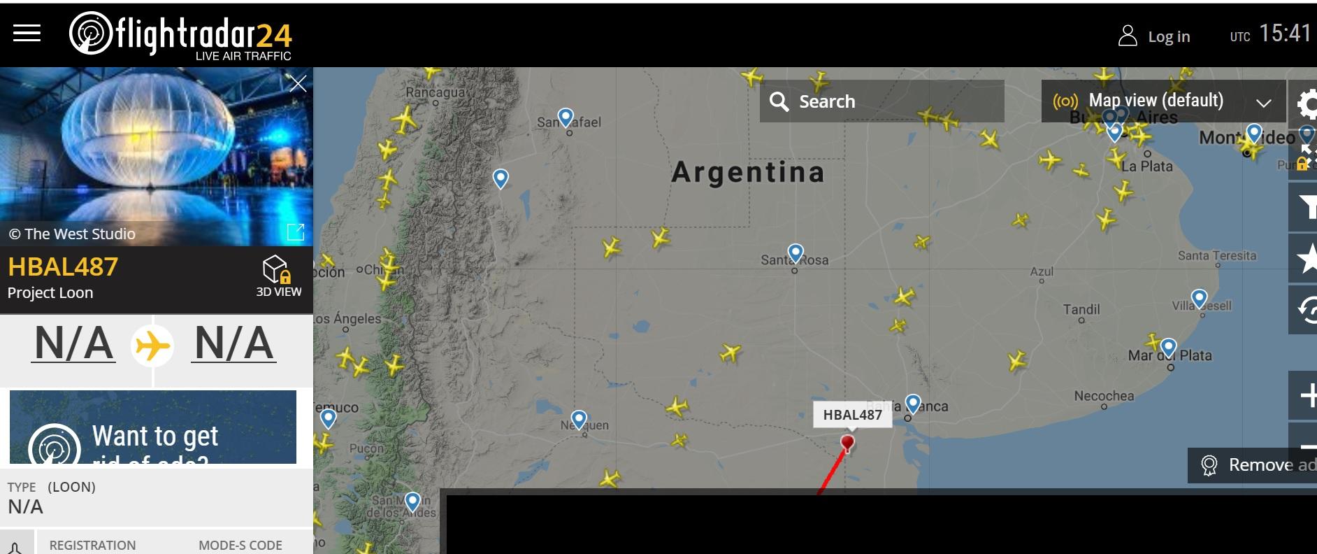 La captura donde se ven los globos del Proyecto Loon sobrevolando el espacio aéreo argentino (Flight Radar)