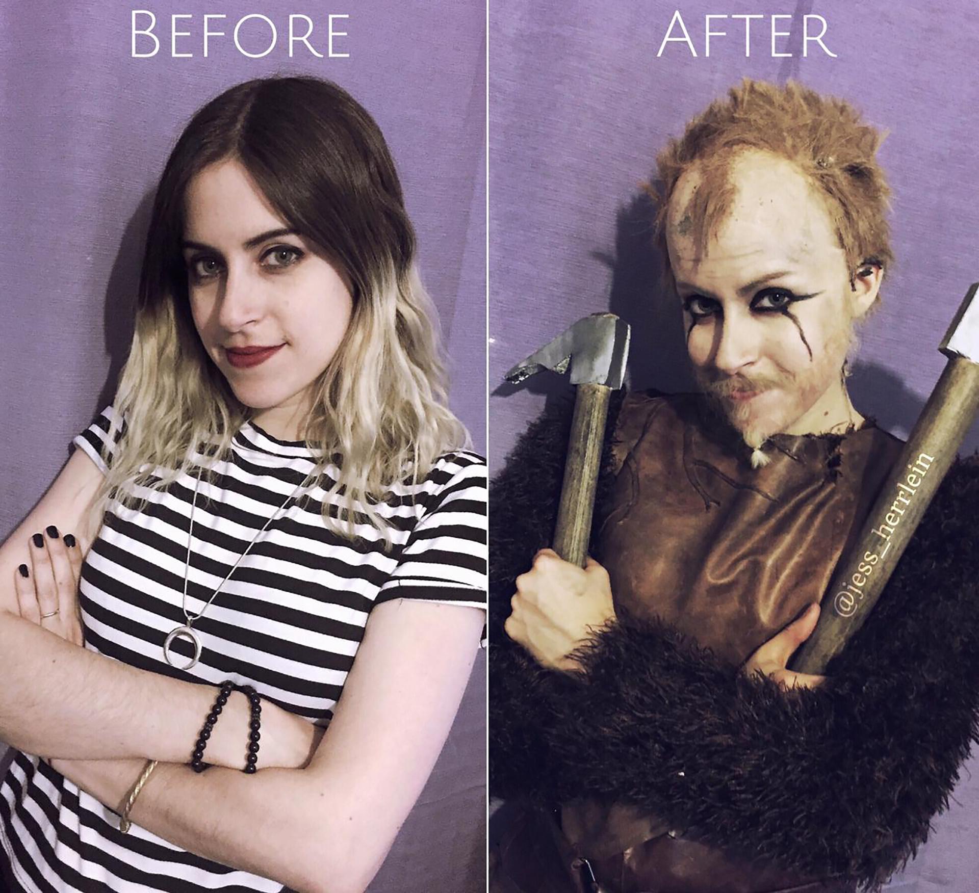 El antes y el después de Jessica interpretando al personaje de Vikings, Floki