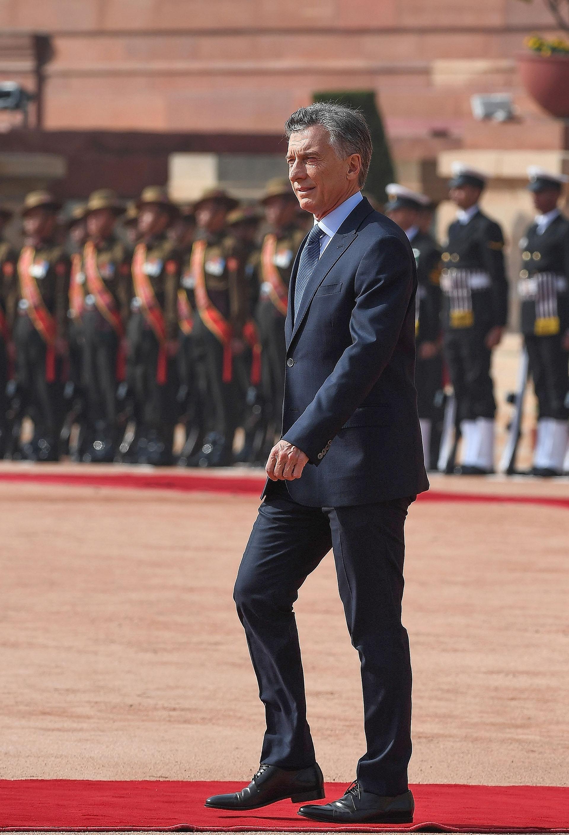 Este lunes comenzó la agenda oficial de Macri. Fue recibido en el palacio presidencial de Nueva Delhi por una guardia de honor