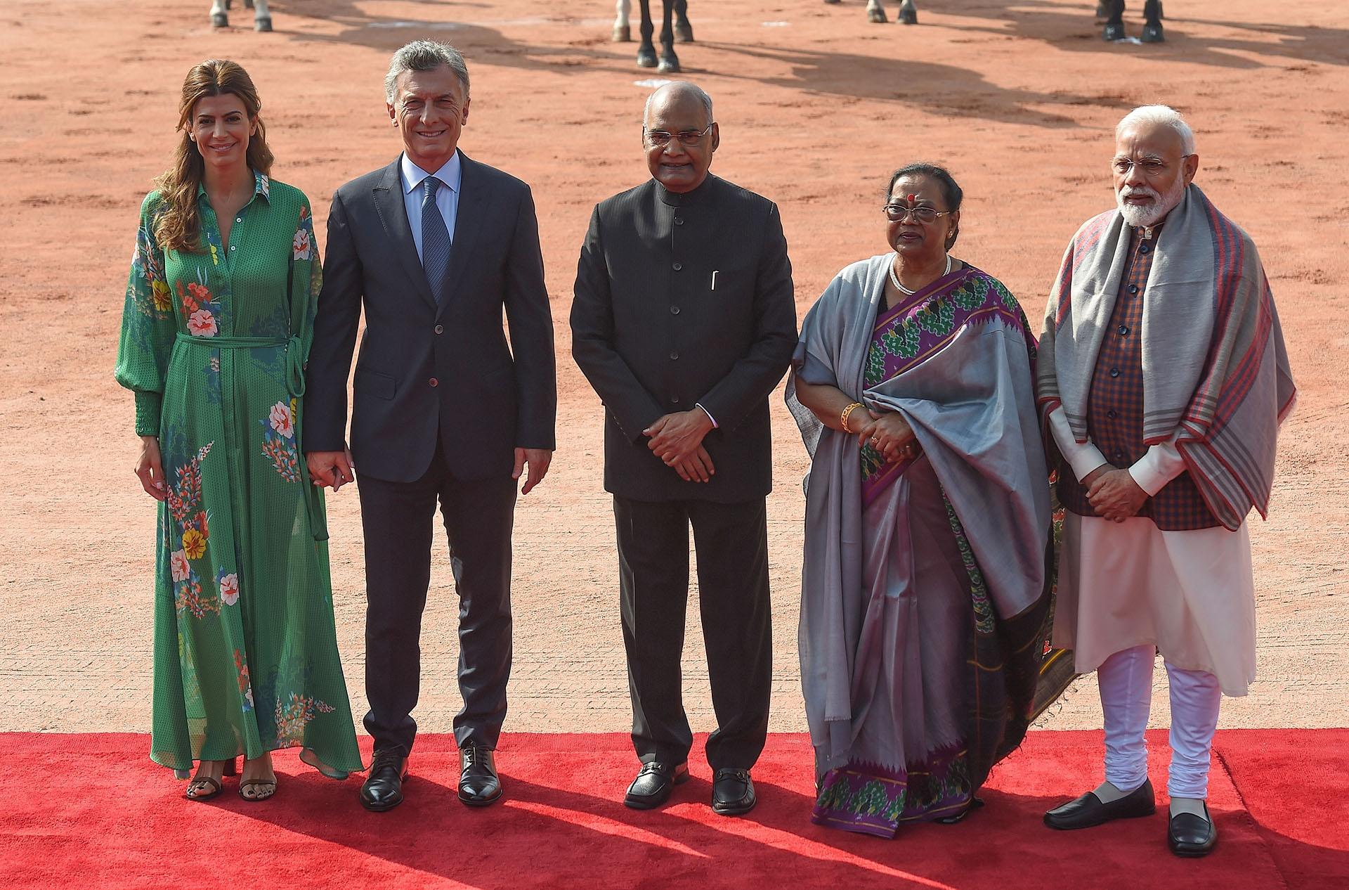 Awada, Macri, Ram Nath Kovind, Savita Kovind -primera dama de India- y Modi