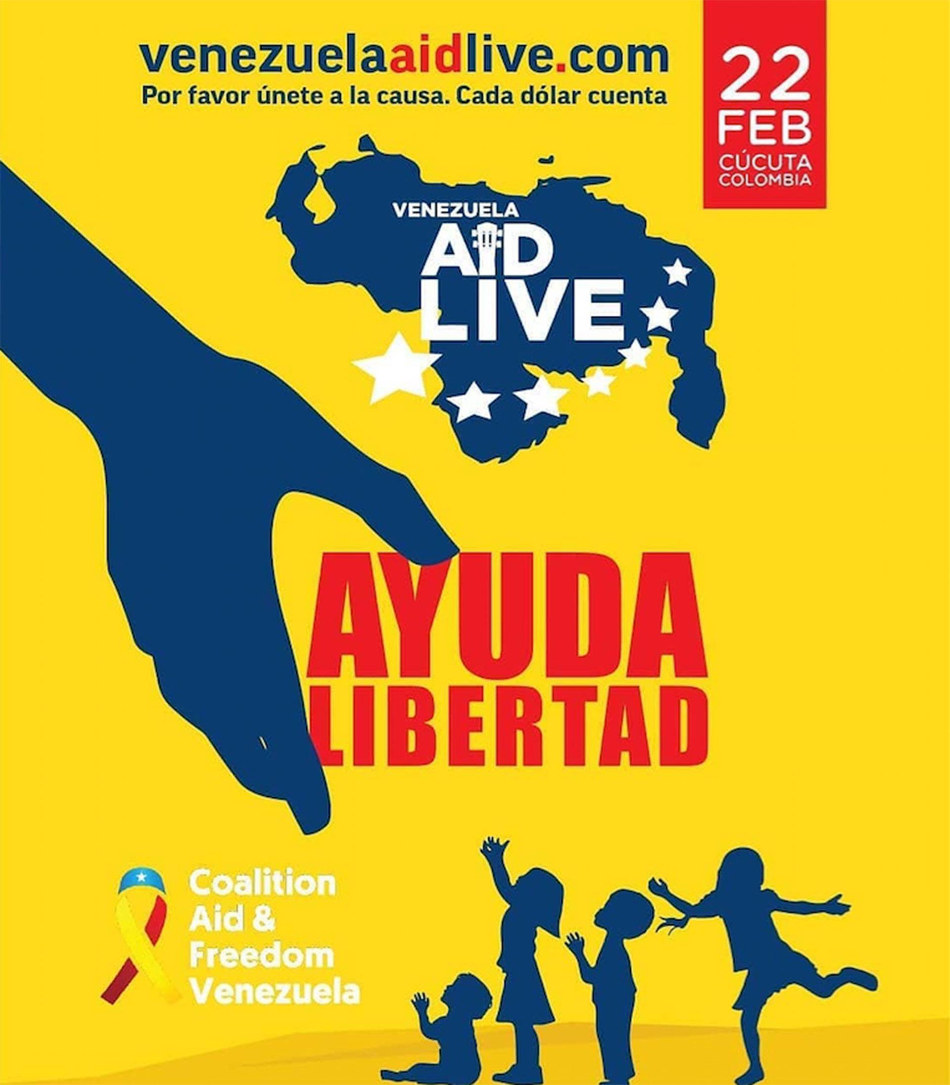 El concierto Venezuela Aid Live tendrá lugar el 22 de febrero en Cúcuta (Colombia).