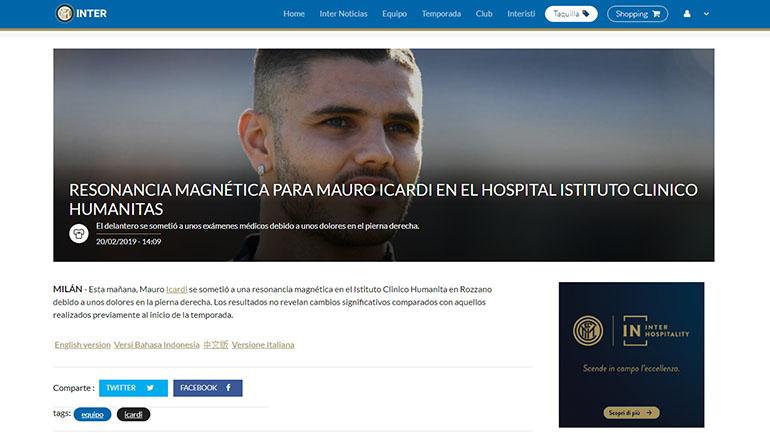 El comunicado del Inter sobre la lesión de Mauro Icardi en su rodilla derecha tras realizarse una resonancia magnética