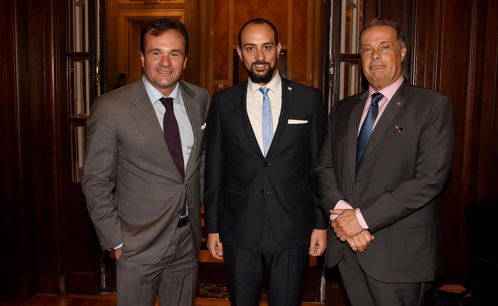 Juan Pablo Maglier, el director de Relaciones Institucionales de La Rural, Ezequiel Herszage, asesor de presidencia de Irsa y Marcelo Taussik, vicepresidente 2 de la DAIA