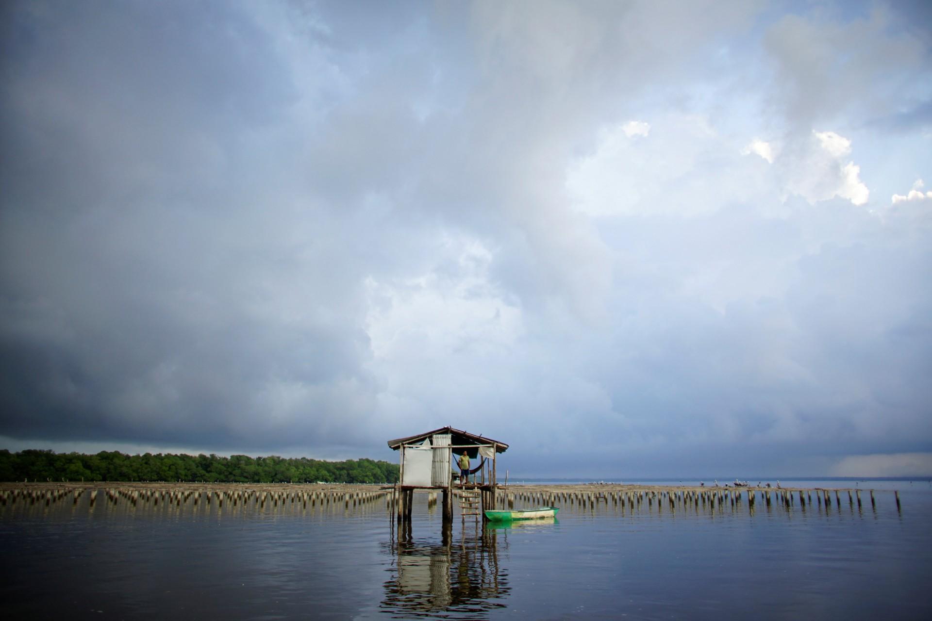 Fortunato Domínguez de la Cruz, de 55 años, se encuentra en un refugio donde guarda una granja de ostras en la laguna de Mecoacan cerca de Paraiso, México, el 9 de diciembre de 2018.