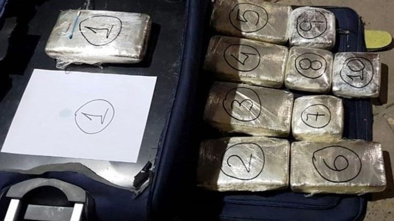 """Stock narco de la """"Banda del Caribe"""", detenida en la terminal de Comodoro Rivadavia."""