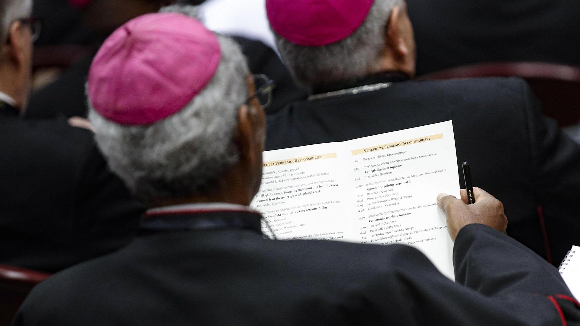 Un obispo lee el programa del día (Photo by GIUSEPPE LAMI / POOL / AFP)
