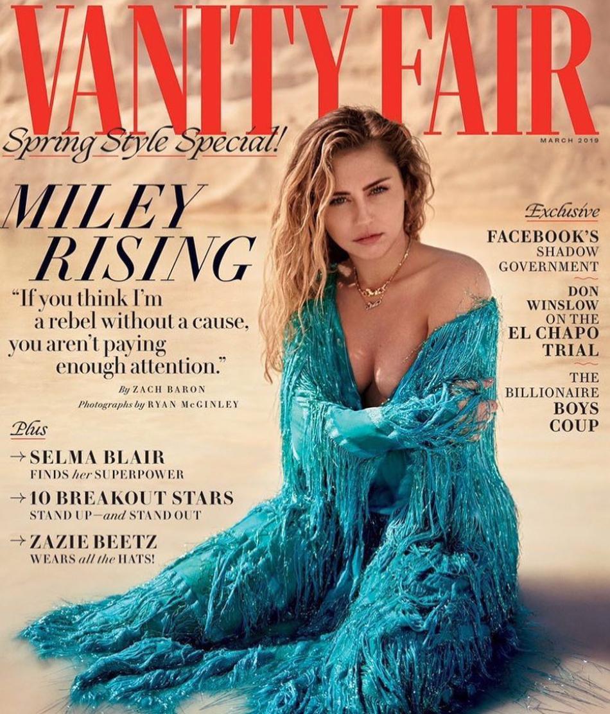 Miley Cyrus vestida de Gucci para la portada de marzo de Vanity Fair (Instagram, Miley Cyrus)