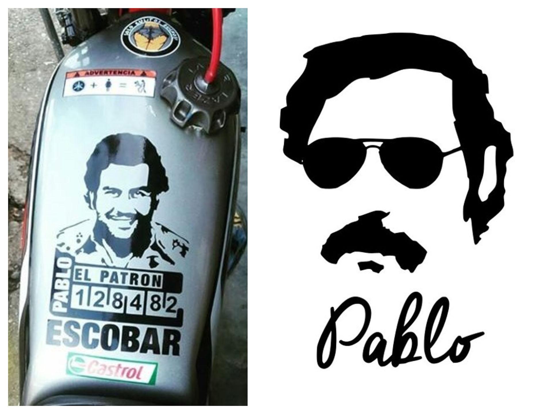 Es una moda entre algunos practicantes del Stunt usar calcomanías de Pablo Escobar en sus motos.