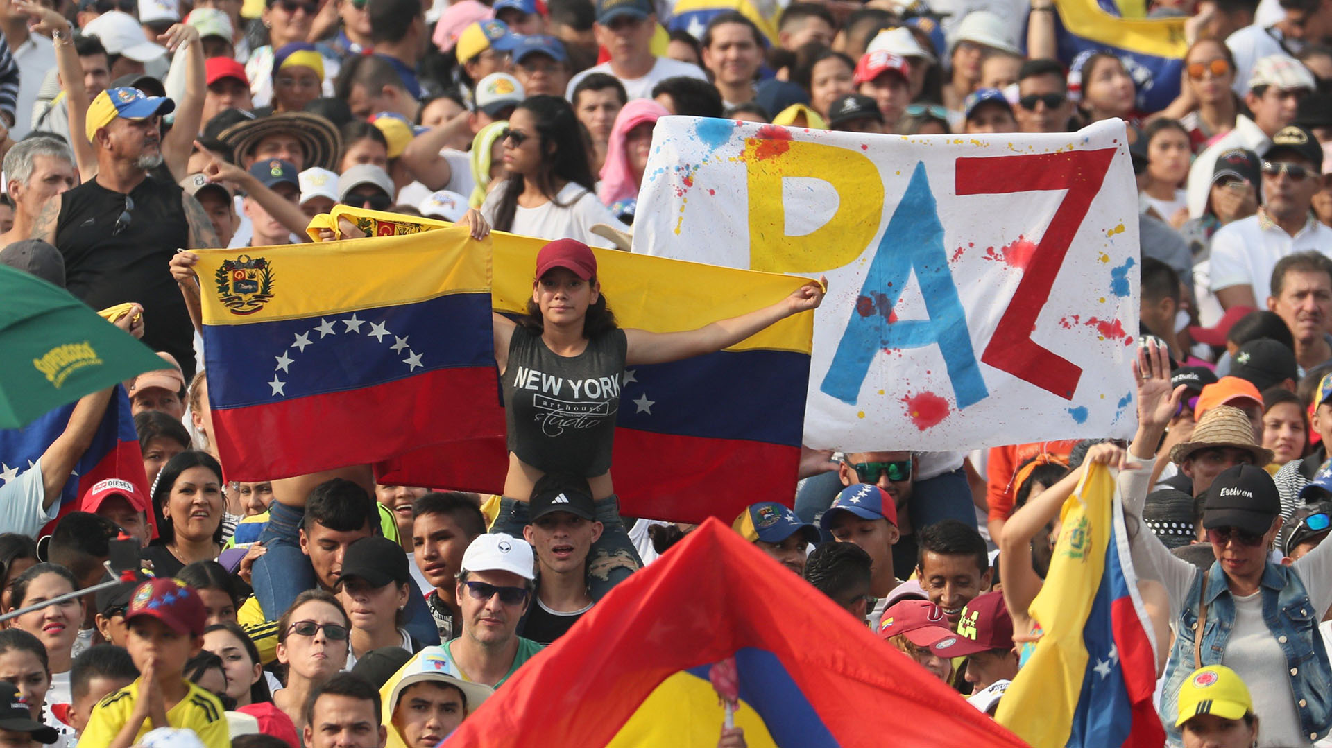 """Se espera la asistencia de 250.000 personas en el """"Venezuela Aid Live"""" este viernes en Cúcuta, Colombia. (EFE/ Mauricio Dueñas Castañeda)"""