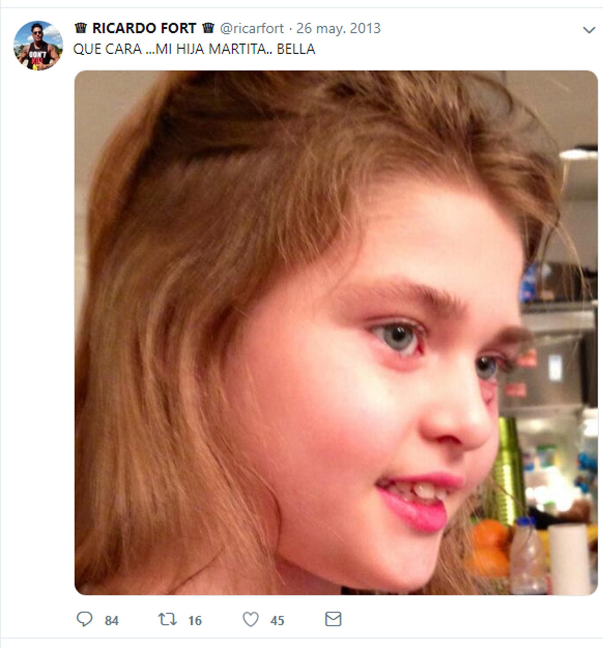 Ricardo Fort y un posteo dedicado a su hija, allí por dos mil trece (Twitter)