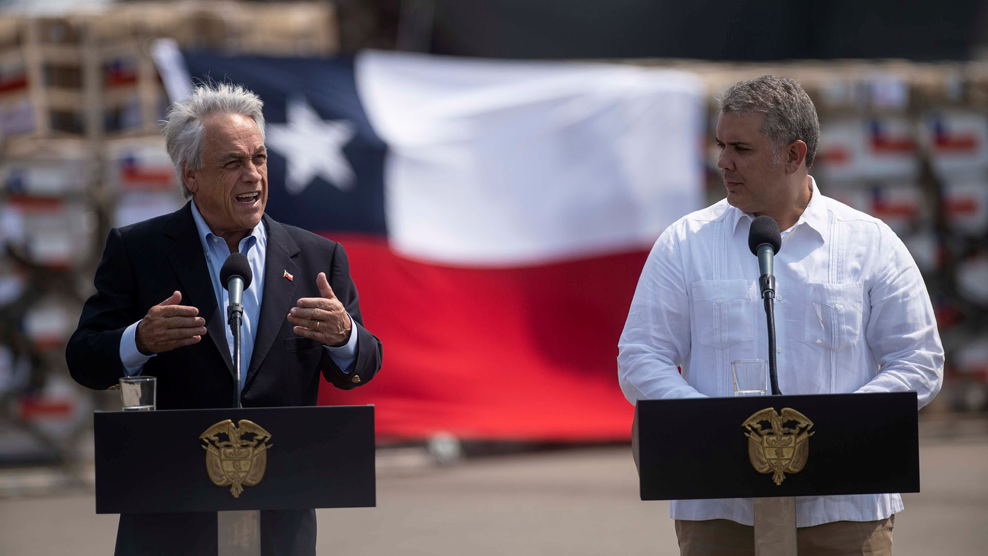 Sebastián Piñera junto a Iván Duque (Reuters)