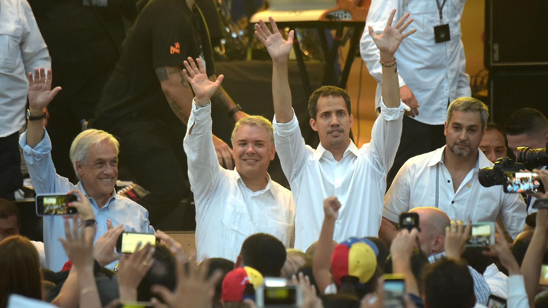 Juan Guaidó participó dle Venezuela Aid Live con los presidentes de Chile, Colombia y Paraguay (AFP)