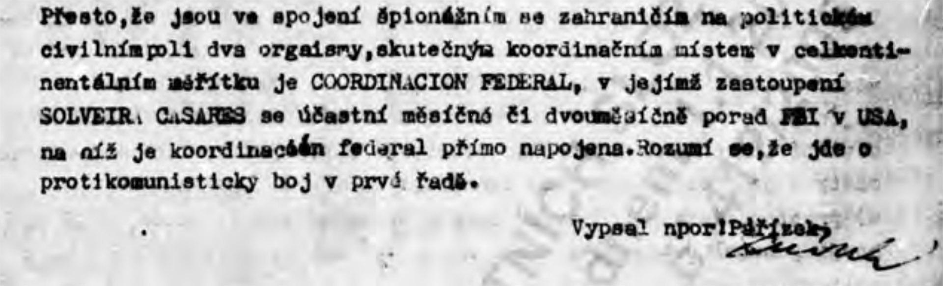 Párrafo del informe de la Inteligencia checoslovaca