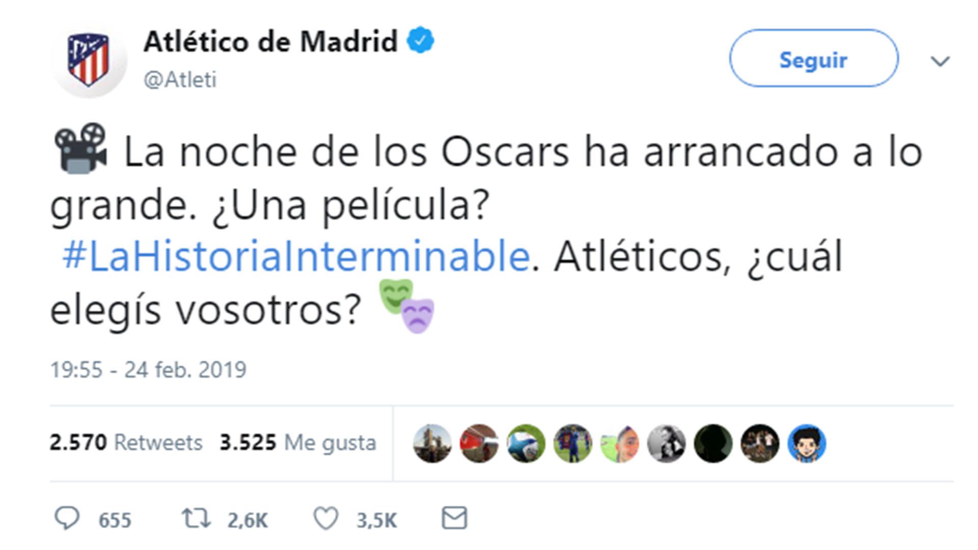 El tuit del Atlético Madrid