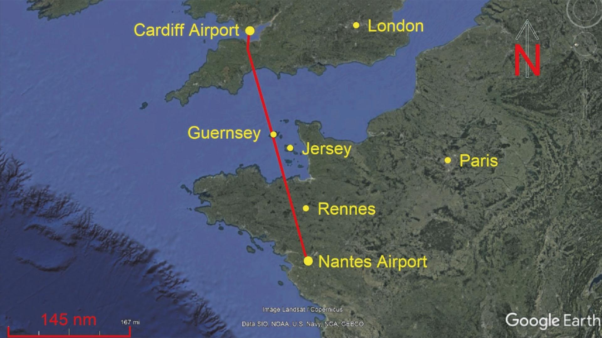 Mapa del ruta del Piper Malibu de Nantes a Cardiff.
