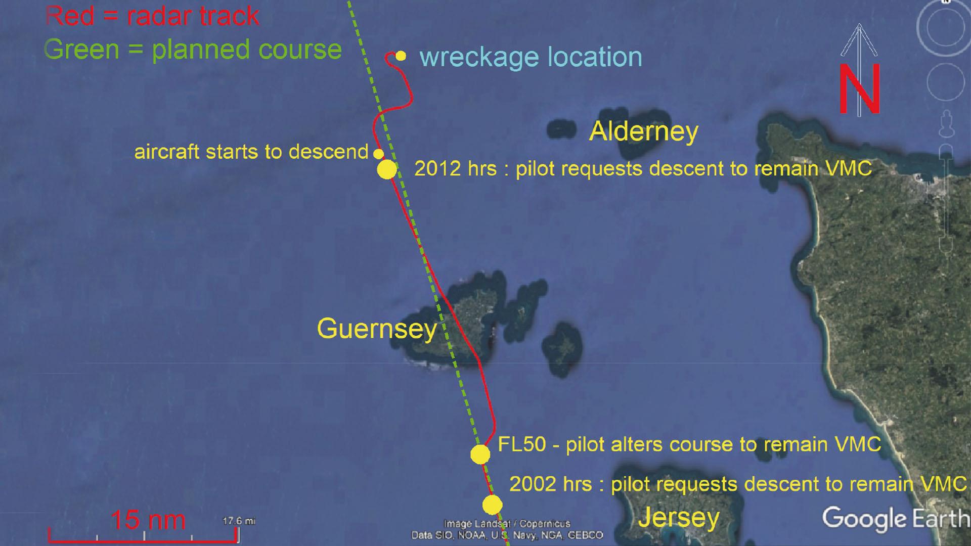 Recorrido del Piper Malibu según los controladores en Guernsey.
