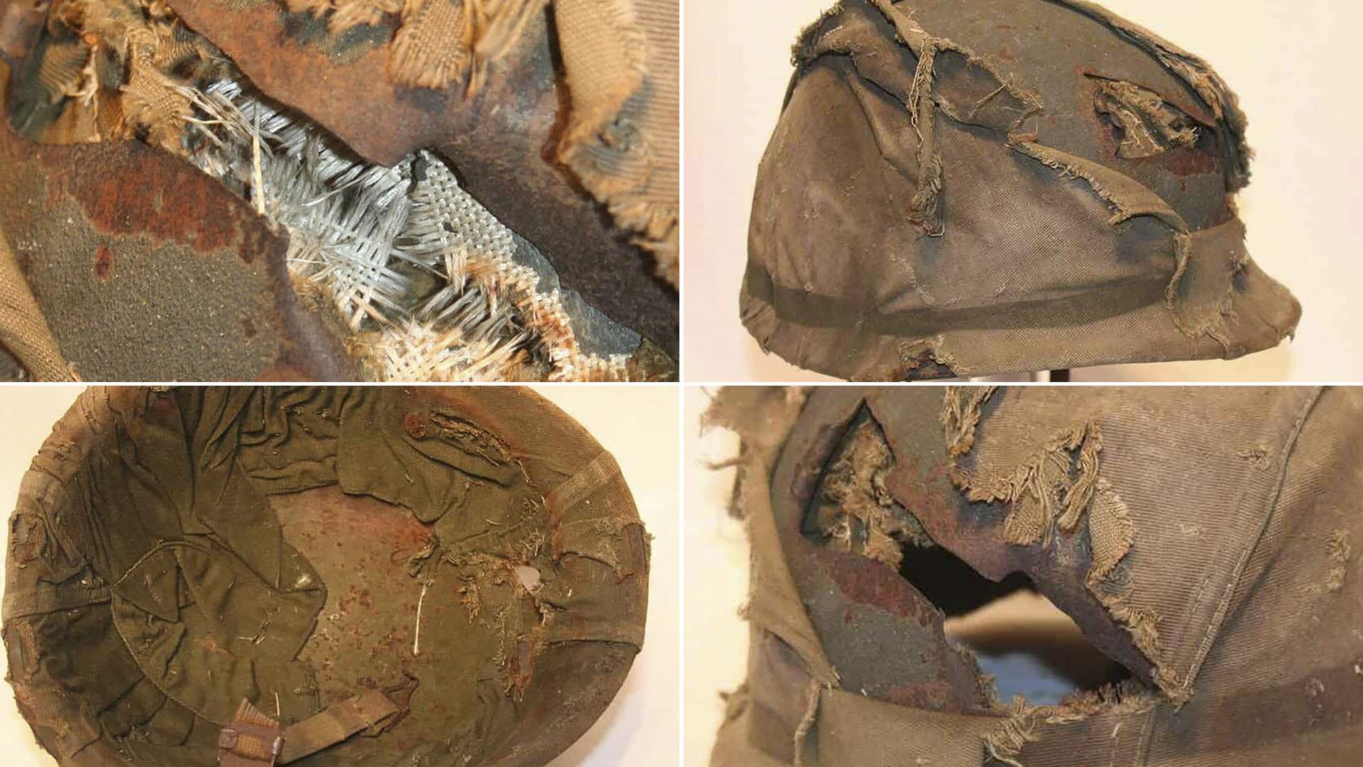 Los detalles del casco destrozado tal como lo muestran en ebay