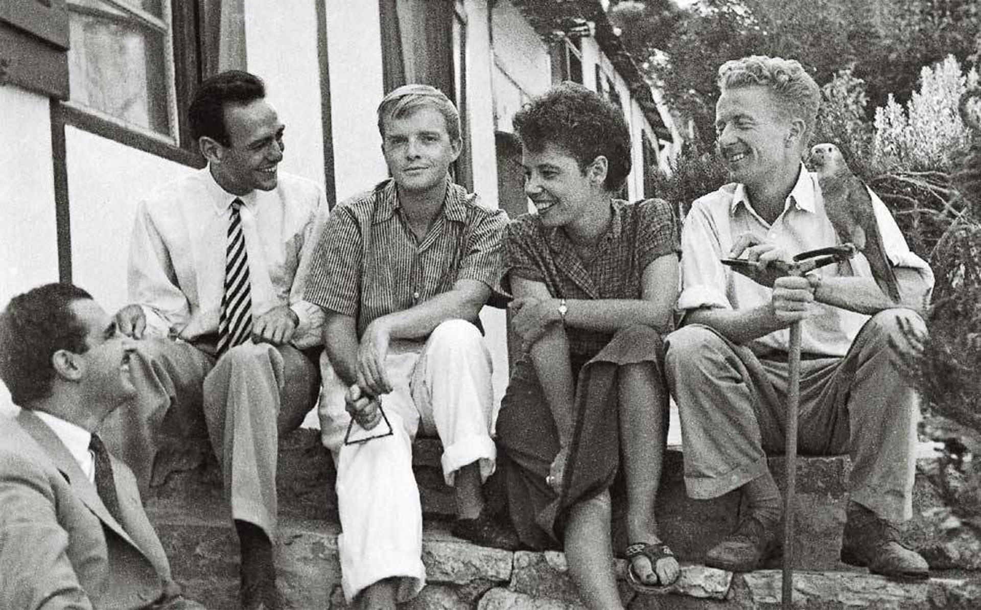 Emilio Sanz de Soto, Pepe Carleton, Truman Capote y Jane y Paul Bowles (Tanger 1949)
