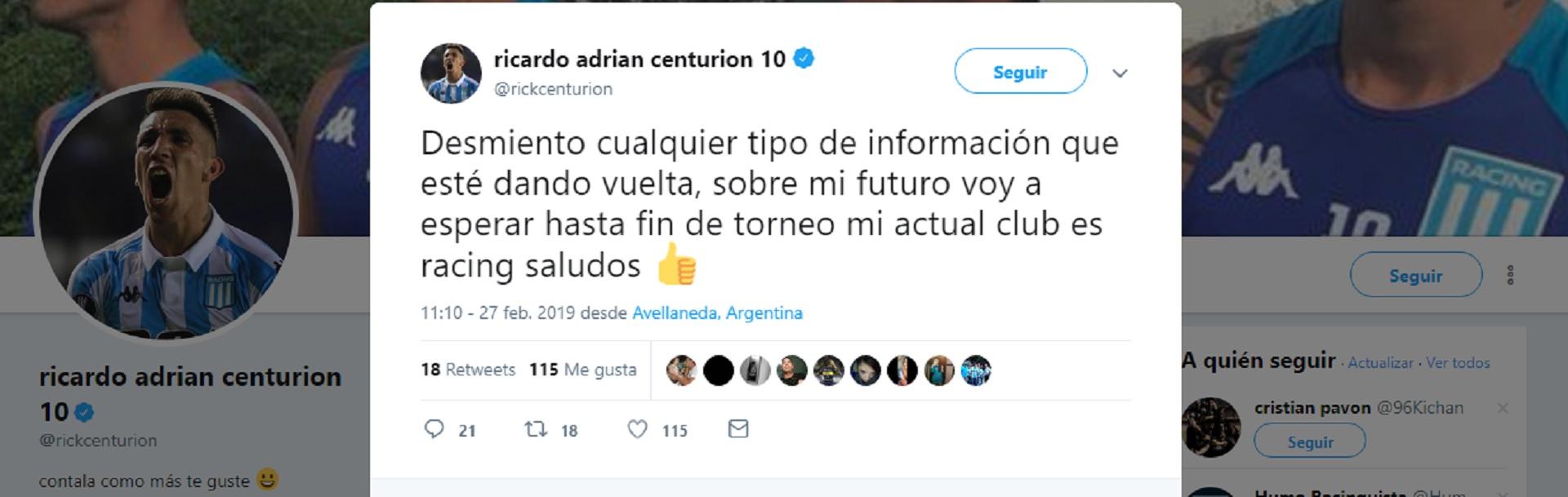 El tuit de Centurión en su cuenta oficial de Twitter