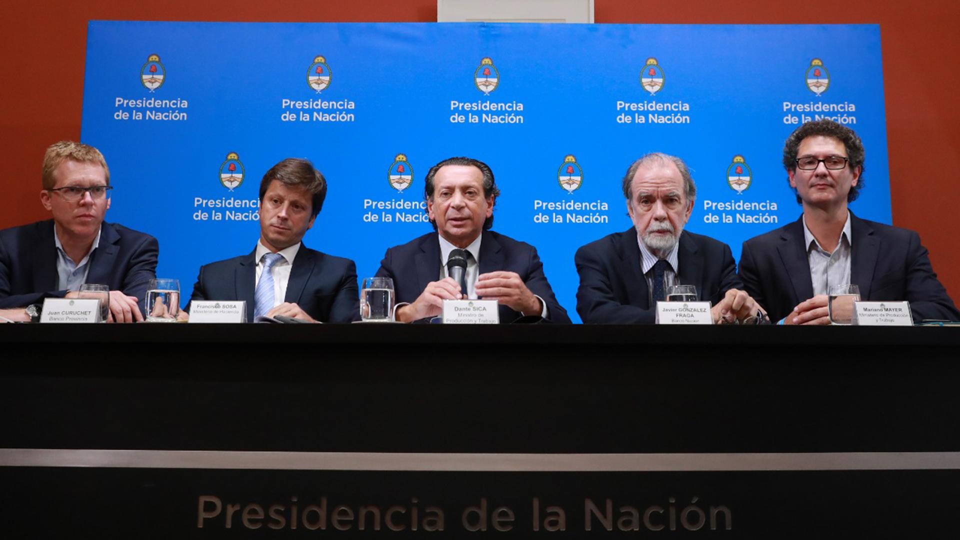 El ministro de Producción, Dante Sica, en el anuncio de la línea de financiamiento subsidiada para pymes
