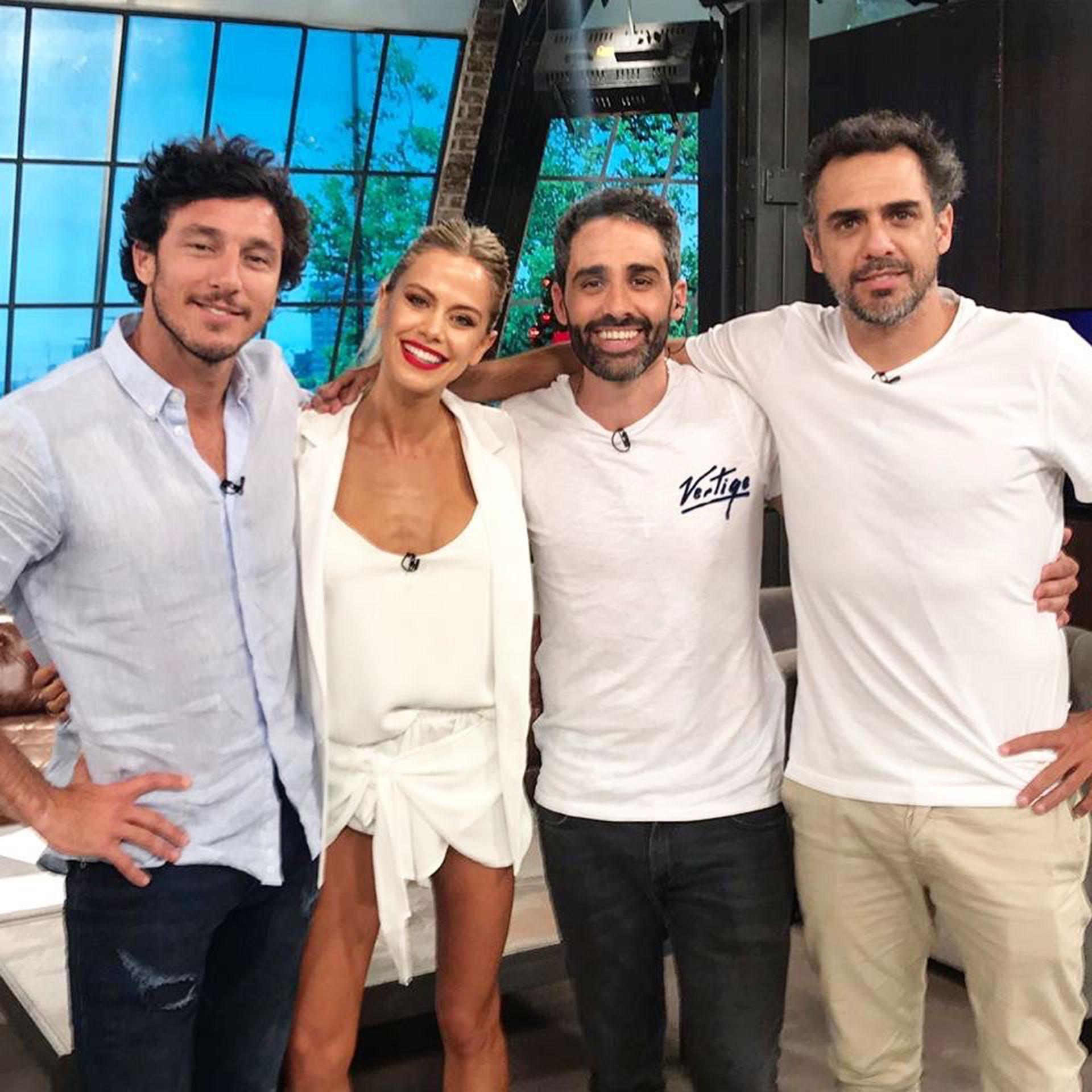 """El equipo de """"Con amigos así"""" (KZO): Pico, Antonella Macchi, Joaquín """"El pollo"""" Alvarez y Mariano Zabaleta."""