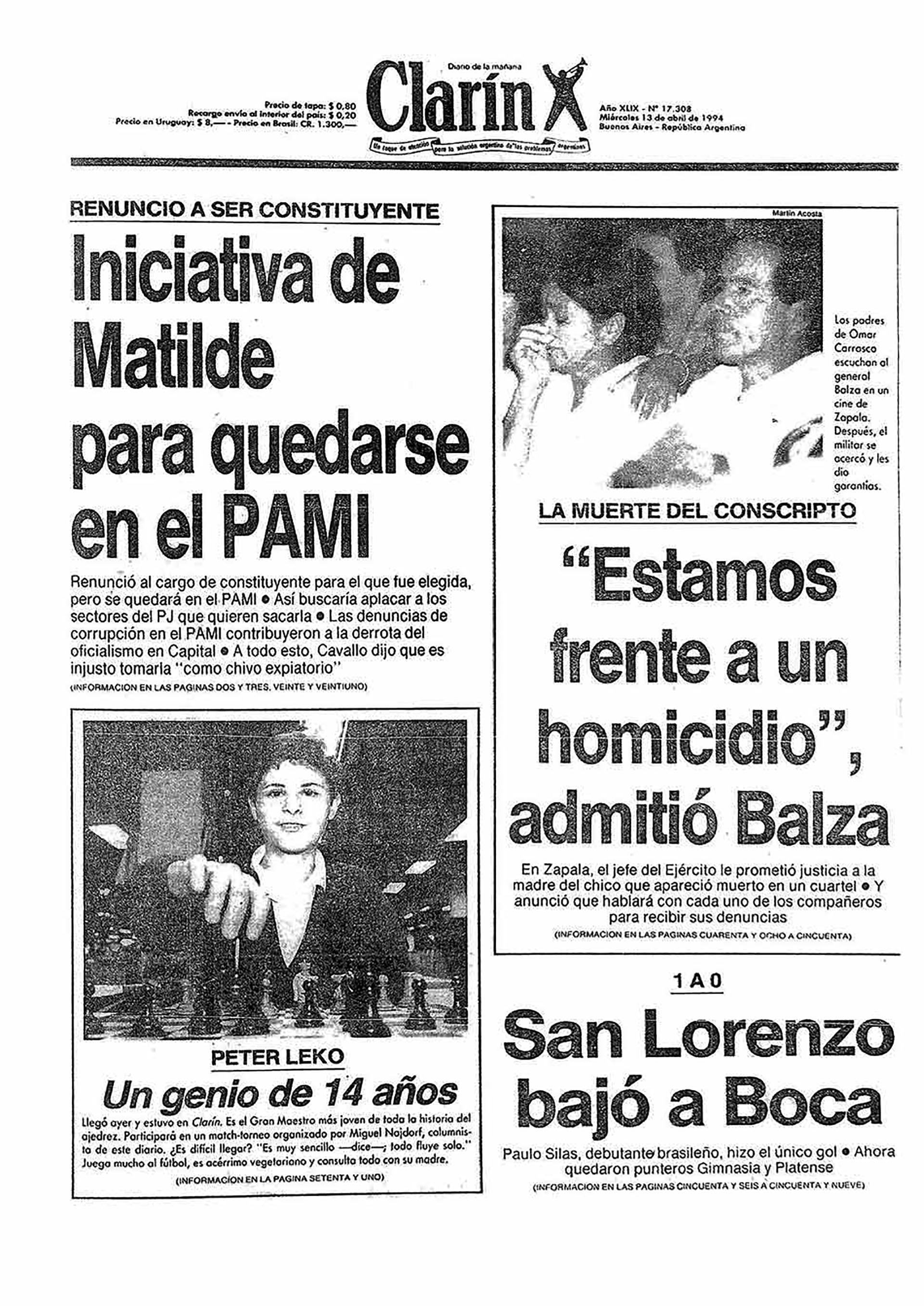 Clarin caso carrasco SF 13 abril 1994