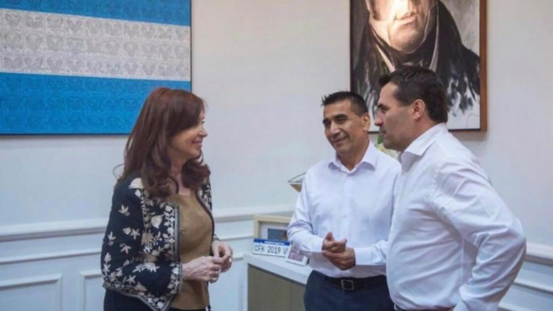 Cristina Kirchnerapoyó la candidatura de Ramón Rioseco y Darío Martinez al recibirlos esta semana en el Instituto Patria