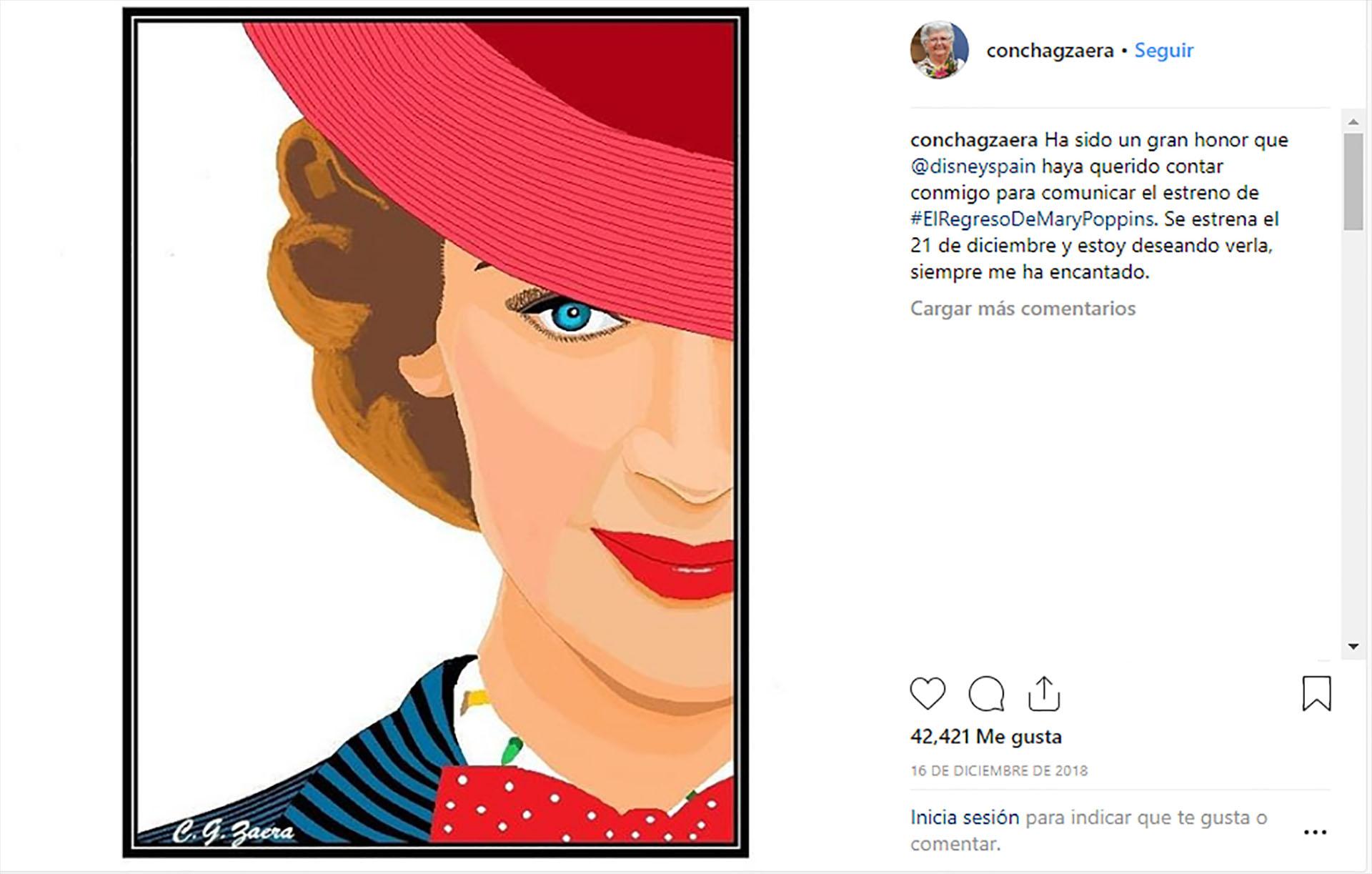 """La instagramer fue convocada por Disney España para la campaña de la película """"El regreso de Mary Poppins"""" (@conchagzaera)"""